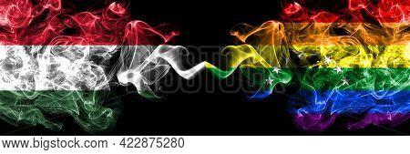 Hungary, Hungarian Vs Venezuela, Gay Smoky Flags Side By Side.