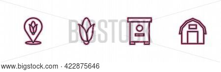 Set Line Location Corn, Hive For Bees, Corn And Farm House Icon. Vector