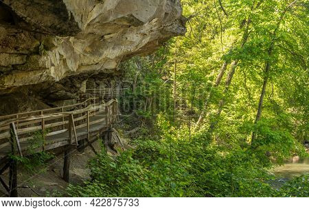 Wooden Boardwalk And Walkway Under The Cliffs In The Audra State Park Near Buckhannon In West Virgin