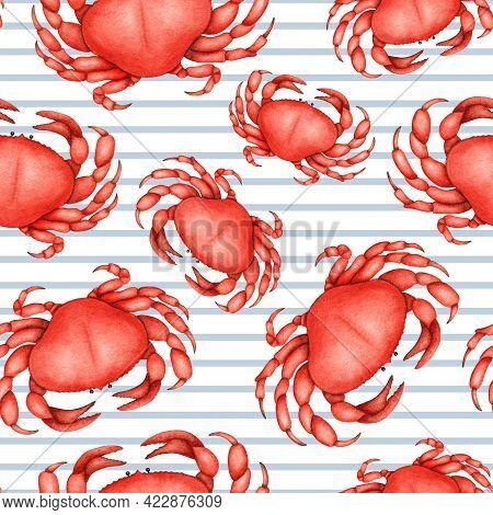 Watercolor Red Crab Seamless Pattern. Sea Life. Ocean Underwater Crustacean, Wildlife Animal. Summer