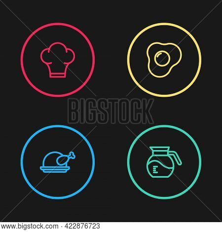 Set Line Roasted Turkey Or Chicken, Coffee Pot, Scrambled Eggs And Chef Hat Icon. Vector