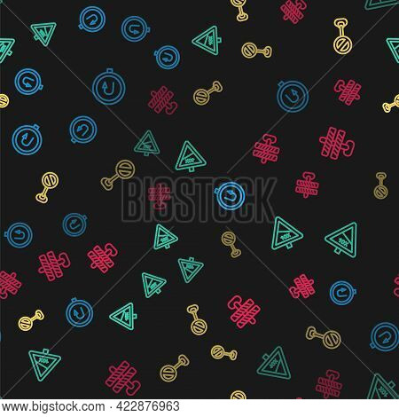 Set Line Turn Back Road Sign, Steep Ascent And Descent, Stop And Road Barrier On Seamless Pattern. V