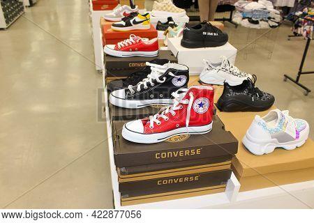 Antalya, Turkey - May 11, 2021: Sneaker Street Shoes Converse Brand