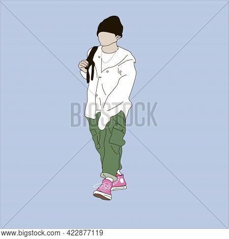 Vector Illustration Of Kpop Street Fashion. Street Idols Of Koreans. Kpop Men's Fashion Idol. A Guy