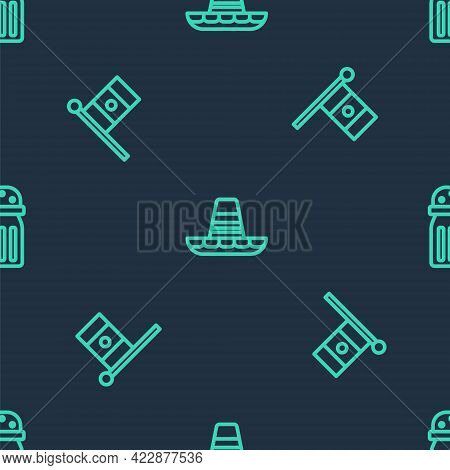 Set Line Mexican Sombrero, Mexico Flag And Salt On Seamless Pattern. Vector