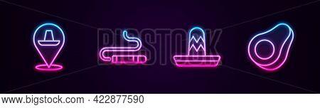 Set Line Mexican Sombrero, Cigar, And Avocado Fruit. Glowing Neon Icon. Vector