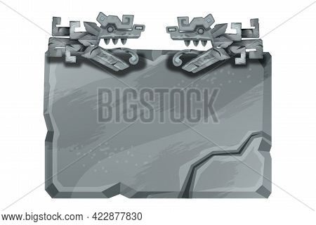Stone Sign Board, Vector Game Rock Panel, Gray Cracked Boulder, Maya Ancient Snake Isolated On White