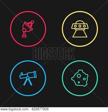 Set Line Telescope, Asteroid, Ufo Flying Spaceship And Satellite Dish Icon. Vector