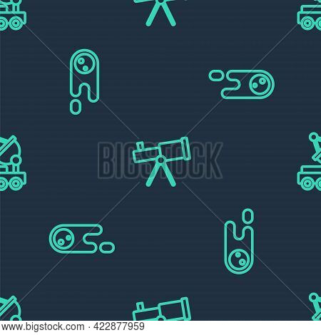 Set Line Telescope, Comet Falling Down Fast And Mars Rover On Seamless Pattern. Vector
