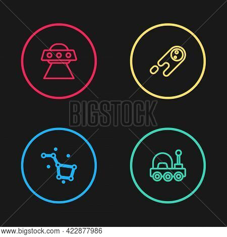 Set Line Great Bear Constellation, Mars Rover, Comet Falling Down Fast And Ufo Flying Spaceship Icon