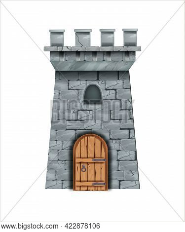 Old Stone Castle Tower, Vector Medieval Brick Wall Fortress, Wooden Door, Loopholes. Fairytale Game