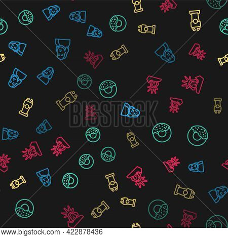Set Line Benjamin Franklin, Donut, Stage Stand Or Tribune And Statue Of Liberty On Seamless Pattern.