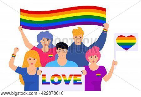 Lgbt Flag. Pride Month. Rainbow. Lesbian, Gay, Bisexual, And Transgender. Lgbtq Organization. Vector