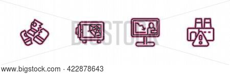 Set Line Credit Card, Global Economic Crisis News, Safe And Shutdown Of Factory Icon. Vector