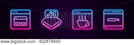 Set Line Search Engine, Processor With Microcircuits Cpu, Software And . Glowing Neon Icon. Vector