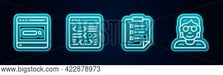 Set Line Search Engine, Software, Clipboard With Checklist And Hacker Or Coder. Glowing Neon Icon. V