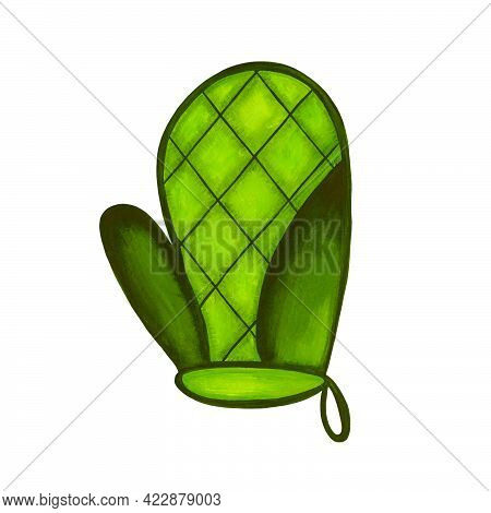 Green Oven Mitt Isolated On White Background. Icon. Hand Protection From Hot. Kitchen Utensils. Wate