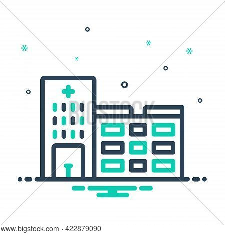 Mix Icon For Hospital Clinic Emergency-room Hospice Institution Nursing-home Ward Infirmary Medical
