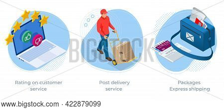 Isometric Concept Of Rating On Customer Service, Post Delivery Service And Packages Express Shipping