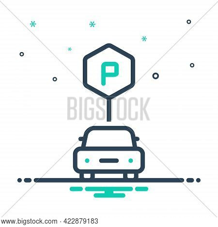 Mix Icon For Parking-sign Haunt Roadsign Vehicle Sign-board Regulation Guidepost Place