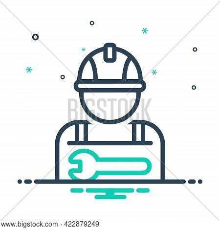 Mix Icon For Worker Employee Practician Roustabout Attendant Salesperson Hireling Shopman Agent Staf