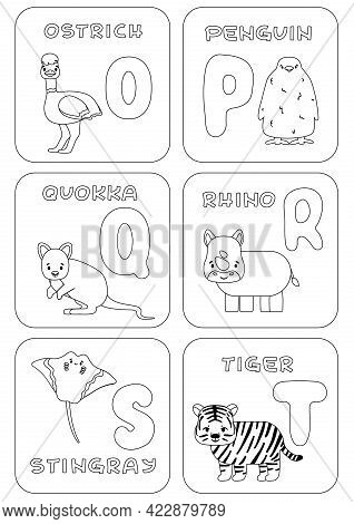 English O-t Alphabet Family Kids Game. Coloring Pages With Animals And Letters That Can Be Used For