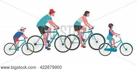 Dad, Mom, Kids Ride Bicycle Flat Color Vector Icon. Mother, Father, Girl, Boy Cycling Cartoon Design