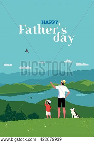 Happy Father, Son Enjoy Mountain Landscape Vector Poster. Dad And Kid Boy Family Together Activity O