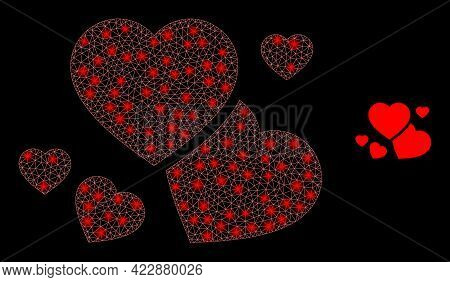 Constellation Network Romantic Hearts With Light Spots. Vector Constellation Based On Romantic Heart