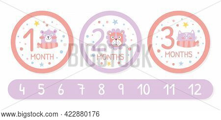 Newborn Baby Monthly Stickers Set, 12 Month Label Templates, First Year Of Life Baby Development Vec