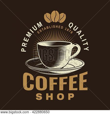 Coffe Shop Logo, Badge Template. Vector . Typography Design With Coffee Cup Silhouette. Template For