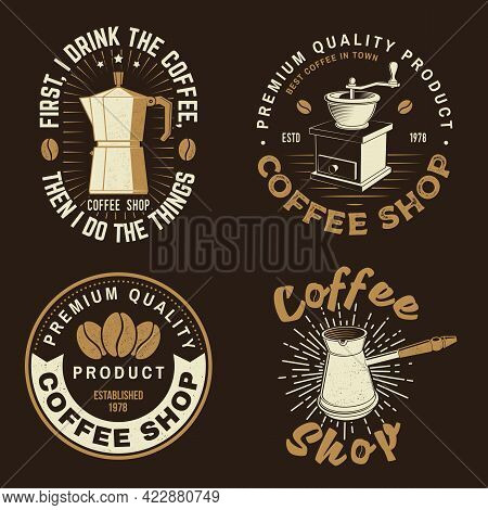 Set Of Coffe Shop Logo, Badge Template. Vector . Typography Design With Coffee Grinder Silhouette. T
