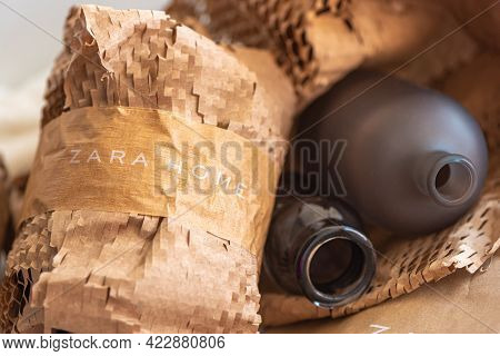 Moscow, Russia - May 11 2021: Beige Corrugated Packaging Paper With Zara Home Brand Name Written Wit