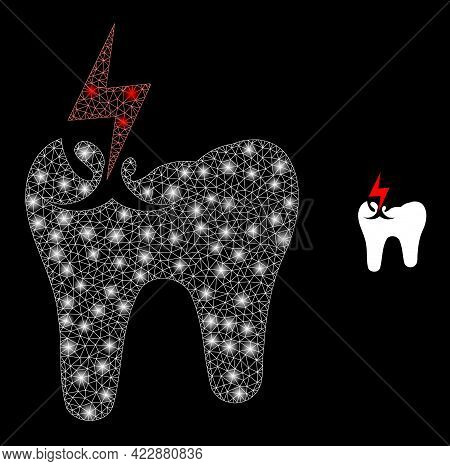 Glowing Net Tooth Crash With Glowing Spots. Vector Frame Based On Tooth Crash Icon. Constellation Fr