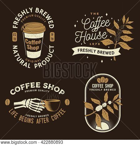 Set Of Coffe Shop Logo, Badge Template. Vector. Typography Design With Coffee Grinder, Cup And Branc