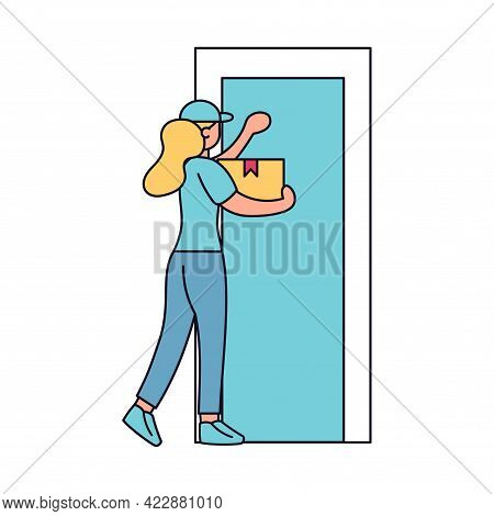 Isolated Delivery Girl With A Package Knocking A Door Vector Illustration