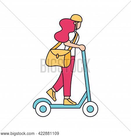 Isolated Delivery Girl With A Package On A Scooter Vector Illustration