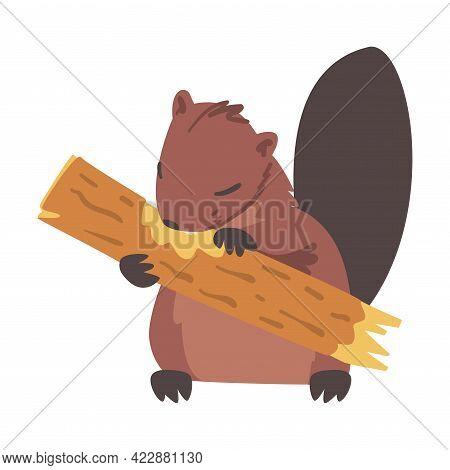 Cute Brown Beaver Gnawing Log, Rodent Wild Mammal Animal Cartoon Vector Illustration