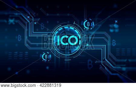 Immersive Hud Ico Initial Coin Offering Interface Blurry And Focused Analytics,circuits And Icons. I
