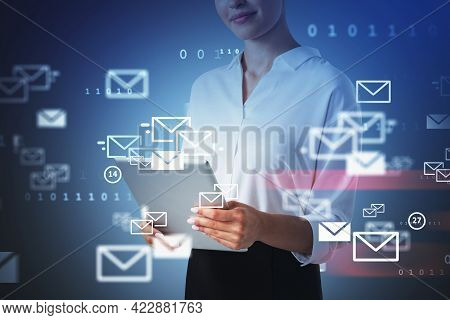 Young Office Woman Using Electronic Device, Double Exposure Of Inbox E-mails And Programming Code. C