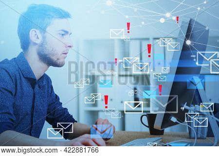 Young Man Profile Working In Office With Computer, Many Inbox Emails And Network Online Connection.