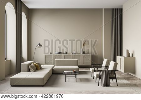 Modern Living Room Interior With Two White Armchairs And Couch, Lamp And Shelf With Decoration, Mini