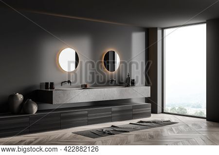 Dark Bathroom With Concrete Sinks, Round Mirrors With Backlight, Art Decoration And Parquet Floor. M