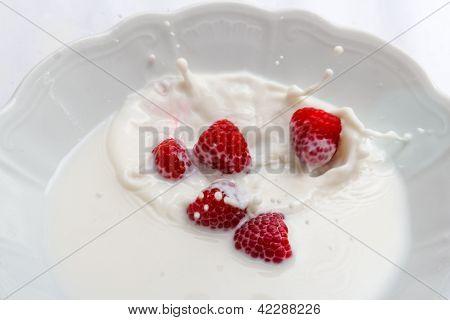 Raspberry falls into milk,
