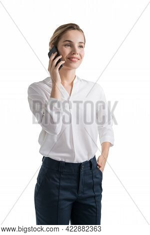 Isolated Half Length Portrait Of Young Caucasian Businesswoman Talking On Smartphone. Concept Of Com