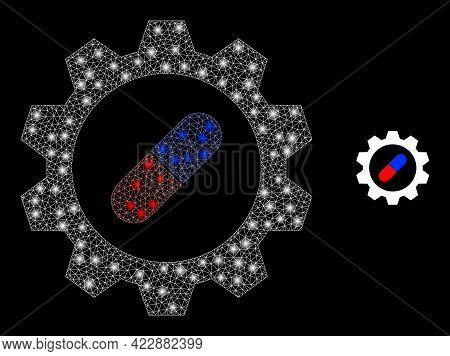 Glowing Network Pharma Industry With Glowing Spots. Vector Frame Created From Pharma Industry Icon.