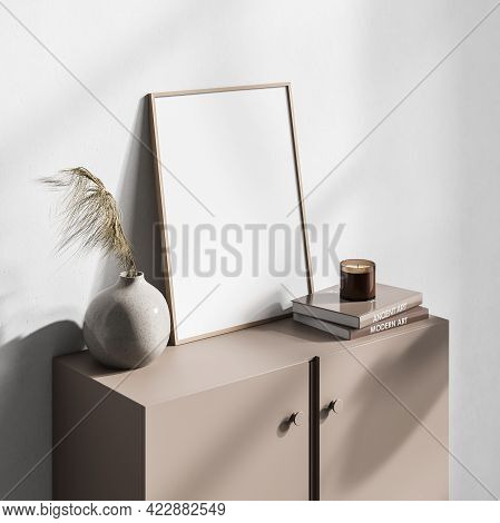 Art Room Interior With Beige Wooden Drawer, Vase And Books With Candle, Side View, Minimalist Decora