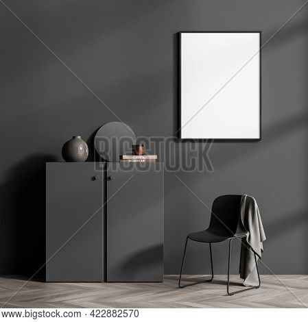 Relaxing Room Interior With Grey Commode Drawer With Books And Vase, Armchair With Blanket On Parque