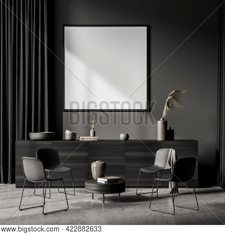 Relaxing Room Interior With Grey Commode And Four Black Chairs, Coffee Table With Book On Grey Concr