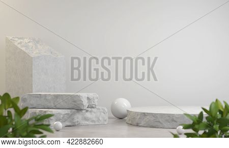Stone Slabs Debris Display Stand Composition, For Show Product On Stone White Background, Plant Fore